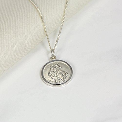 Collier et Pendentif à Graver Médaille de Saint Christophe en Argent 925/1000 - 56cm