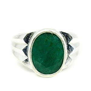 55Karat 4,5ct natürlicher Edelstein Smaragd Mark 925Sterling Silber Ring für Männer
