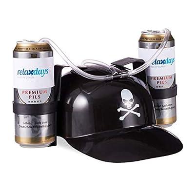 Relaxdays Bière Pirate Boisson avec Tuyau 2 Canettes Casque Anti Soif Tête de Mort Fête Carnaval, Noir, Adulte Unisexe, 10022790 Blanc, HLP 13 x 32 x 28 cm