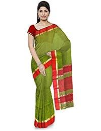 R K Chouhan Maheshwar Maheshwari Handloom Cotton & Silk Saree (Green)