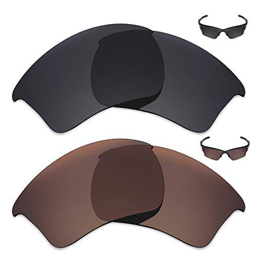 MRY 2Paar Polarisierte Ersatz Gläser für Oakley Half Jacket 2.0XL Sonnenbrille-Reiche Option Farben, Stealth Black & Bronze Brown