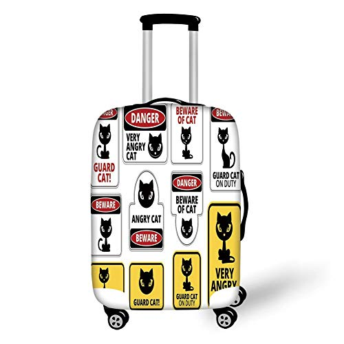 Travel Luggage Cover Suitcase Protector,Funny,Beware Guard Cat Signs Humorous Comic Labels and Plates Warning Graphic,Yellow Black Red White,for Travels 19x27.5Inch