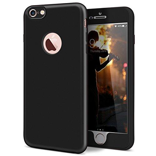 GrandEver iPhone 6S Hülle, iPhone 6 Weiche Silikon Handyhülle 360 Grad Schutz TPU Bumper Full Body Komplettschutz Schutzhülle für iPhone 6/iPhone 6S(4.7 Zoll) Rückschale Klar Handytasche Anti-Kratzer  Schwarz