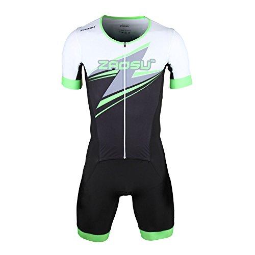 ZAOSU Herren Aerosuit Full Zip - Trisuit Einteiler | Premium compression Triathlonanzug mit komfortablem Verschlusssystem, Radpolster und hoher Kompression für lange Distanzen, Farbe:grün, Größe:L