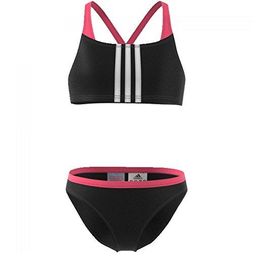 adidas Mädchen 3-Streifen Bikini, Black/Real Pink, 140