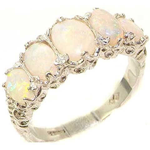 Sterling Silver Ladies 5 Stone Colourful Fiery Opal Ring -
