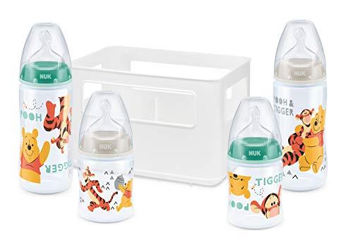e Pooh First Choice + Babyflaschen Starter Set mit 4 Anti-Colic Weithalsflaschen (2x 150ml & 2x 300ml) mit Silikonsauger & Flaschenbox, BPA-frei, grün ()