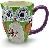 Hausmann & Söhne Eule Tasse groß, grün, lustig mit Tier Motiv in 3D Eule | Jumbo Tasse 350ml (430ml randvoll) | Kaffeetasse/Teetasse aus Keramik | Tasse Eule | die perfekte Geschenkidee