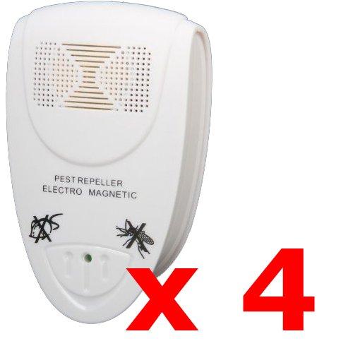 4 x Kabalo EU PLUG IN ULTRASONIC PEST REPELLERS - Ultrasonico elettronico della zanzara del mouse di controllo dei parassiti Repeller Bug spavento