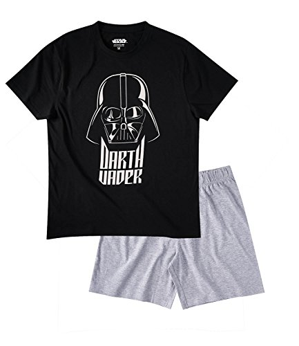Star Wars-The Clone Wars Darth Vader Jedi Yoda Hombres Pijama mangas cortas – Negro