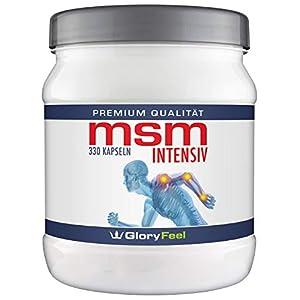 GloryFeel® MSM Kapseln Intensiv 1.600 mg – 330 Hochdosierte Kapseln Reiner Organischer Schwefel + Vitamin C und Selen – 330 Stück – Nahrungsergänzung von GloryFeel