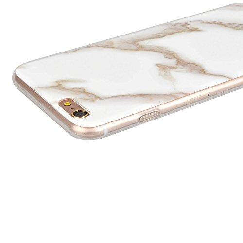 GrandEver iPhone 6S Plus Hülle, iPhone 6 Plus Hülle Marmor Weiche Silikon TPU Bumper Gel Schutzhülle Rückschale Klar Handytasche Anti-Kratzer Stoßdämpfung Ultra Slim Rückseite Silicon Backcover Soft C Gold