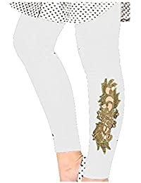 Preet gehna girls leggings online buy preet gehna girls leggings patch leggingswhite colour designer peacock gold patch lace legging leggings for women and girls fandeluxe Image collections