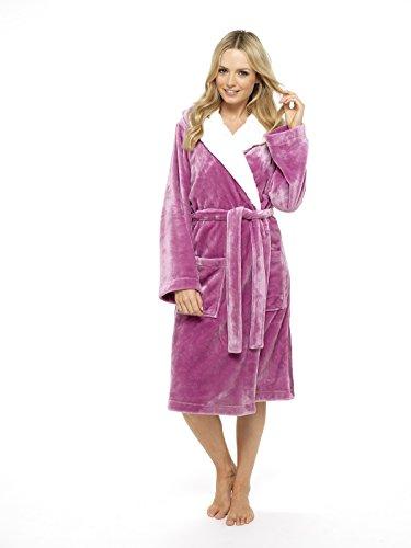 CityComfort Luxus Bademantel Damen Super Soft Robe mit Fell gefütterte Kapuze Plüsch Bademantel für Frauen-perfektes Geschenk orchid pink