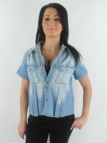 originale Diesel Camicia di jeans Camicetta Parte superiore Sefir azzurro a maniche corte NUOVO - cotone, blu, 100% cotone, Donna, L
