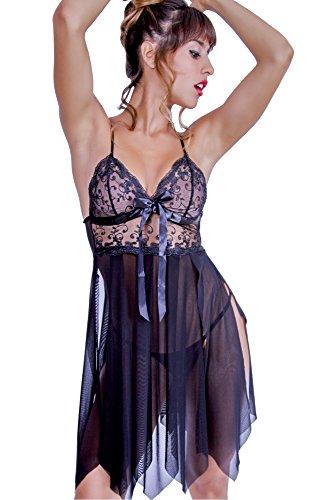 HO-Ersoka Damen Babydoll Negligee geschlitzt aus Spitze Tüll und Satin inkl. String schwarz (Damen Bestickte Chemise)