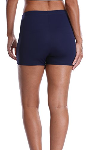 Attraco Damen Badehose boardshort damen bade hotpants damen lange badeshorts eng Frauen bikini Badehose Dunkelblau