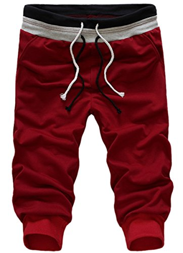 Panegy Jungen Casual Sport Atmungsaktive 3/4 Lang Jogginghose Shorts für Sommer Asiatische Größe L - Weinrot