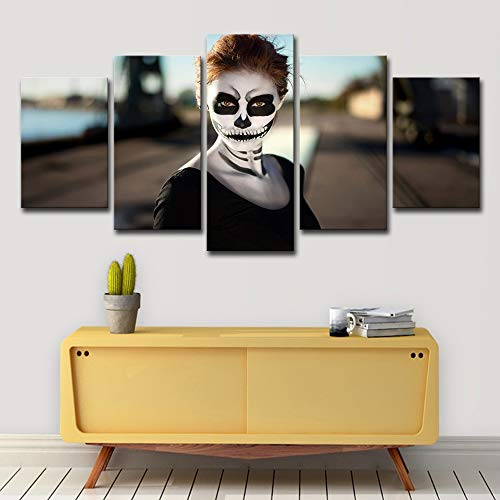 CAT NINE Leinwanddrucke Hd Gedruckt Mädchen Halloween Poster 5 Stücke Gruppe Malerei Raumdekor Poster Drucken Bild Leinwand Freies Verschiffen-40CM*60/80/100CM,with Frame