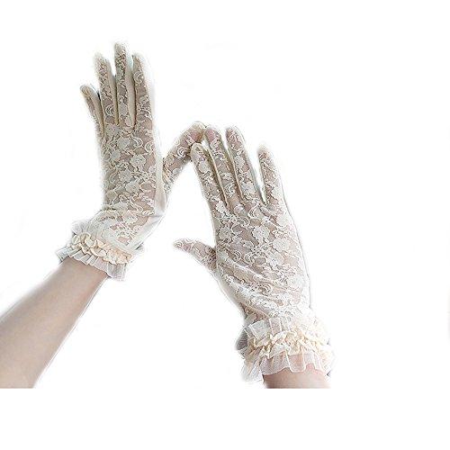 URSFUR Damen Schöne Hochwertige Baumwoll Sommer Sonnenschutz Handschuhe Netzhandschuhe spitzenhandschuhe - Beige Kleine Blumen (Farbe Handschuhe Spitzen)