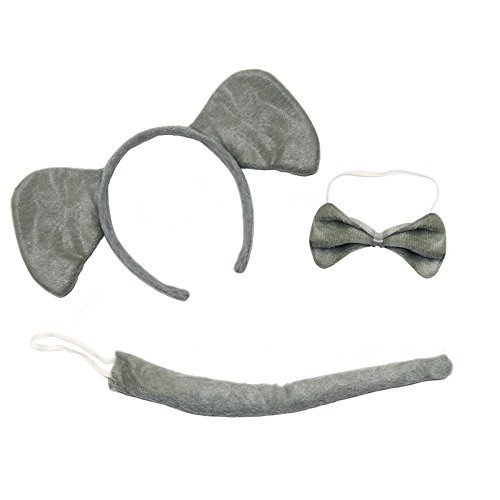 süß Elefant 3-Piece Buch Tag Kostüm Satz ( Ohren Stirnband, Schwanz & Fliege)