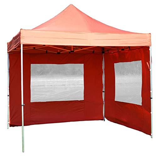 Nexos PROFI Faltpavillon Partyzelt Pavillon 3x3 m mit 2 Seitenteilen - hochwertige Ausführung - wasserdichtes Dach mit PVC-coating - 270 g/m² incl. Tragetasche und Zubehör - Farbe: terracotta