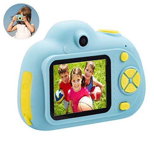 DingLong Kinder-Kamera-Geschenke für 4-8 Jahre alte Mädchen, stoßfeste Kameras Großes Geschenk Mini-Kind-Camcorder für kleines Mädchen mit weicher Silikonhülle für Spiele im Freien (Blau)