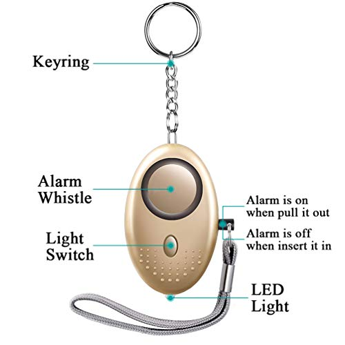 llavero electr/ónico de la alarma del dispositivo de la autodefensa 130db con la luz del LED para las mujeres//los ni/ños//las muchachas//los ancianos//la seguridad//al basculador//al estudi Aboat 5 PCS Alarma Personal