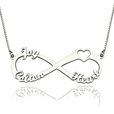 925 Sterling Silve Family Name Necklace Pendant Infinity Love Heart