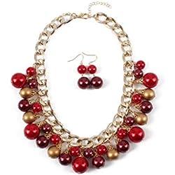 Collar corto para dama, accesorios de colgante de perlas de imitación elegante retro, pendientes de collar minimalistas y elegantes joyas de dos piezas (color : Rojo, Tamaño : Metro)