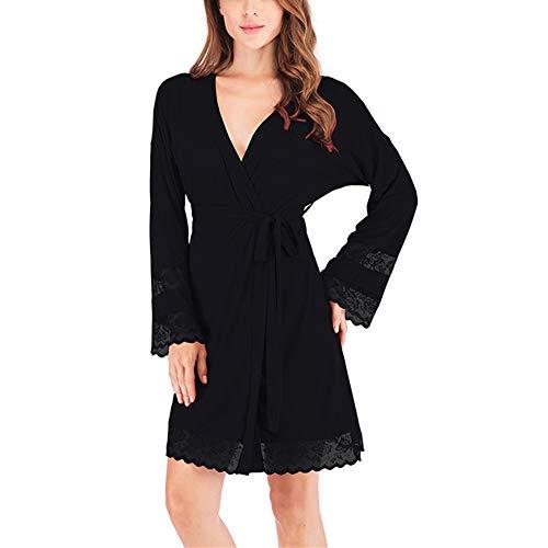 Lose Pyjamas mit V-Ausschnitt für Damen, Elegante Langarm-Bademäntel für Damen, sexy Bademäntel mit Spitzenbesatz, Sauna-Spa-Hotel mit PoolschwarzM -