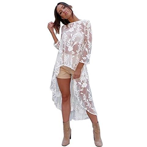 Reaso Femmes Sexy Transparent Broderie Demi manche Midi robe (M, Blanc)
