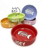 CreativePets - Bebedero o Comedero para gatos pequeño personalizado con nombre y dibujo (cerámica) diferentes colores