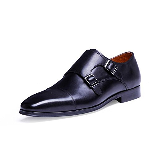 Herren Leder-Schuhe, hochwertige Munch-Schuhe, Leder, Schnalle -, vier Jahreszeiten, Mönch, Schuhe mit Herren-Schuhe, Größe 6-14, Schwarz, 43 -