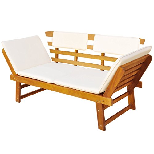 Festnight 2-in-1 Outdoor Sonnenliege Gartenbank Sitzbank aus Massives Akazienholz Multifunktionsbank Kombiniert Stil (155-190) x 66 x 75 cm - 3