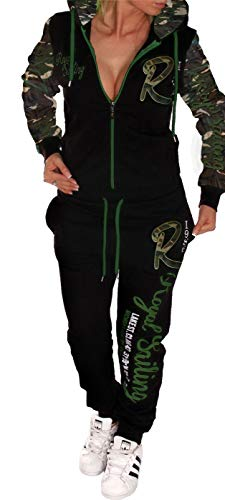 Unbekannt Damen Jogginganzug Trainingsanzug Fitnessanzug Hose und Oberteil Schlafanzug Pyjama Royal Sailing (Camouflage 4XL