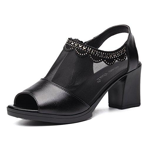 KHSKX-Le Printemps Et L'Été 4.5Cm Chaussures Sandales En Cuir Noir Avec De Gros Poissons D'Âge Mûr À Point De Gaze Les Chaussures Étanches Bouche Les Sandales Thirty-nine