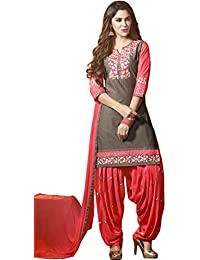 Exotic India Gray And Pink Patiala Salwar Kameez Suit With Floral-Embroid - Gray