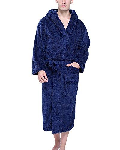Quge unisex donna uomo vestaglia con cappuccio e tasche super plush robe accappatoio marina militare s