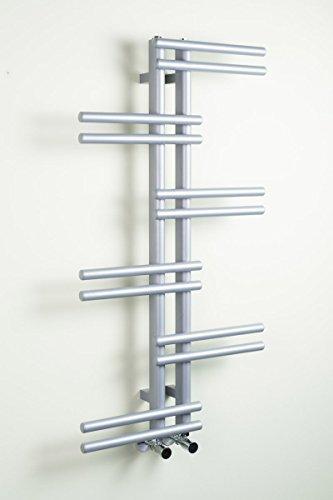WarmeHaus Designer Handtuchheizkörper Badheizkörper 1005 x 550 mm Silber