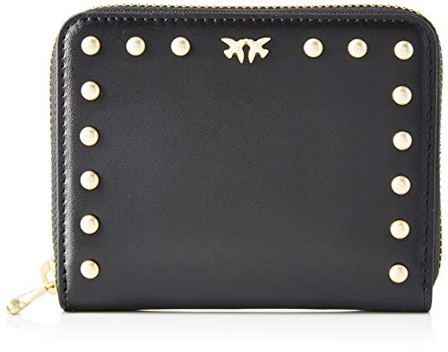 Pinko detroit zip around m, portafoglio donna, (nero limousine), 2.3x10.5x12.5 cm (w x h x l)