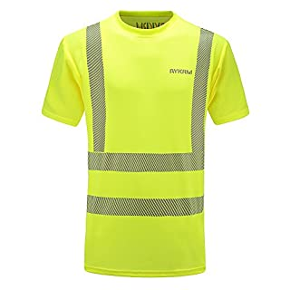 Hi Viz VIS High Visibility t Shirt Reflective Tape Safety Security Work T-Shirt Breathable Lightweight Double Tape Workwear Top EN ISO 20471 (XL, Yellow)