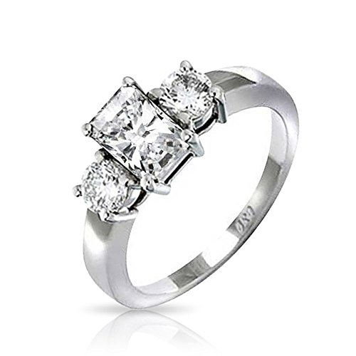 Bling Jewelry 2 CT Emerald Cut 3STEIN CZ Engagement Ring 925 Sterling Silber - 2ct Ring Cz Engagement