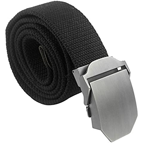 Tailcas® Cintura da uomo in Tessuto Tela tempo libero Adjustable Weave Web Waist Belt Waistband Cintura con Slider Buckle - (Nero) - Belt Buckle Fibbie