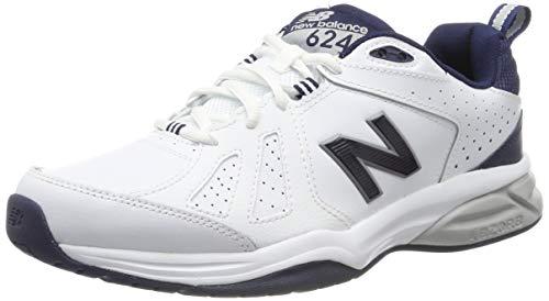 New Balance Herren 624v5 Hallenschuhe, Weiß White/Navy, 44 EU New Navy Schuhe