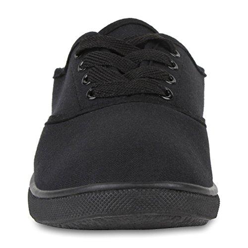 Sportliche Damen Herren Sneakers | Unisex Basic Freizeit Schuhe | Schnürer Stoffschuhe | Prints viele Farben Schwarz