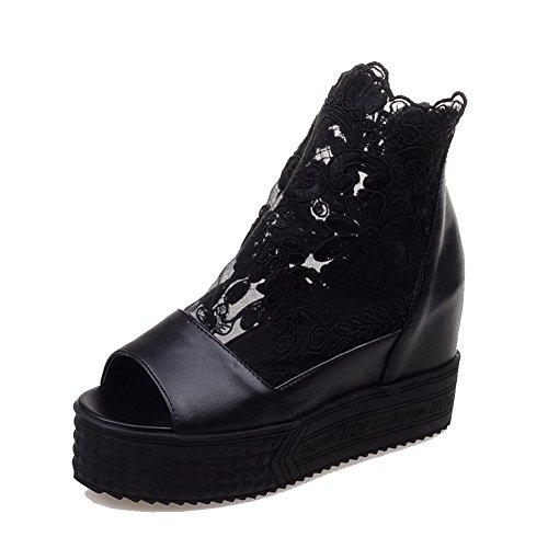 VogueZone009 Femme à Talon Haut Couleur Unie Zip Ouverture Petite Chaussures Légeres Noir