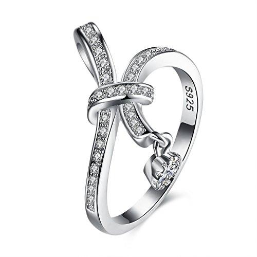 Yazilind 925 Sterling Silber Ring für Frauen einfaches Design mit Cubic Zirconia Ribbon Anhänger Form 16.5
