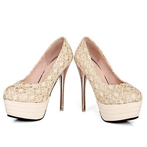 TAOFFEN Damen Classic Platform High Heel Slip On Stiletto Pumps Schuhe Beige