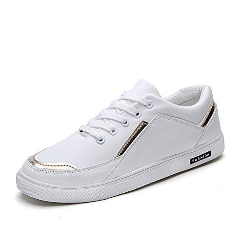 HUAN Herrenschuhe Herren Freizeitschuhe Deck Bootsschuhe Low-Top Sneakers Schnürschuhe (Color : Weiß, Size : 40)